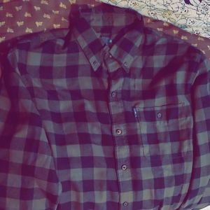Mens Green Plaid Button Up